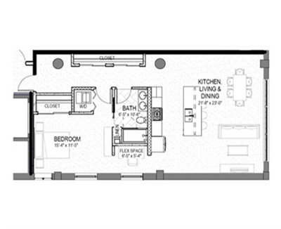 1 bed 1 bath 1045 square foot floor plan preview