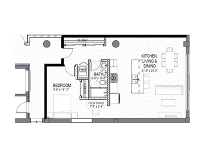 1 bed 1 bath 900 square foot floor plan preview