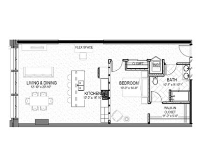 1 bed 1 bath 974 square foot floor plan preview