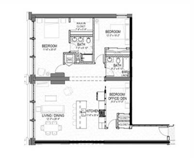3 bed 2 bath 1464 square foot floor plan preview