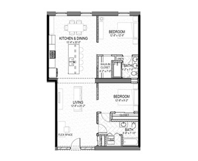 2 bed 2 bath 1178 square foot floor plan preview