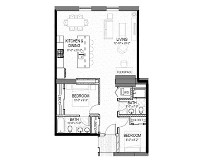 2 bed 2 bath 984 square foot floor plan preview